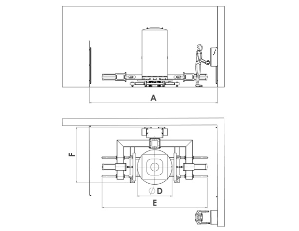 C-shape pneumatic bulk bag conditioner drawing and dimensions