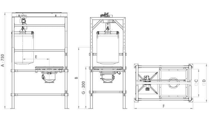Bulk bag discharger with overhead crane: drawing and dimensions