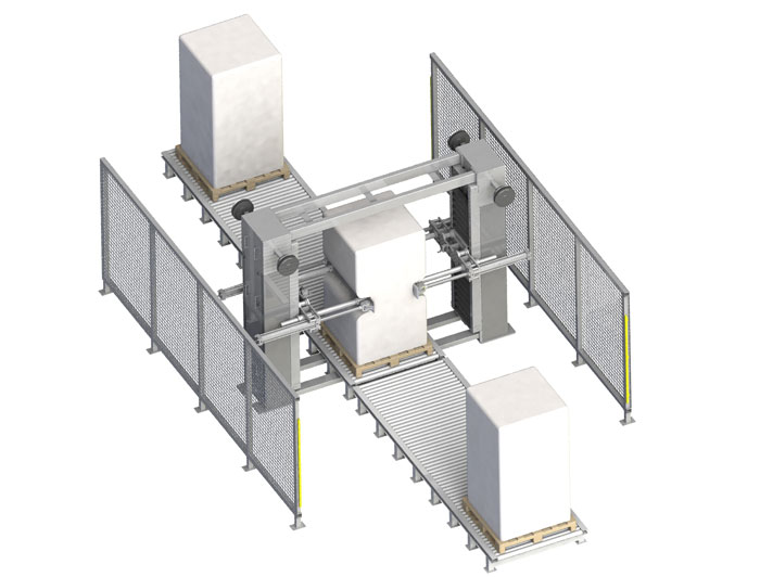 Integrated system: bulk bag conditioner with roller conveyors