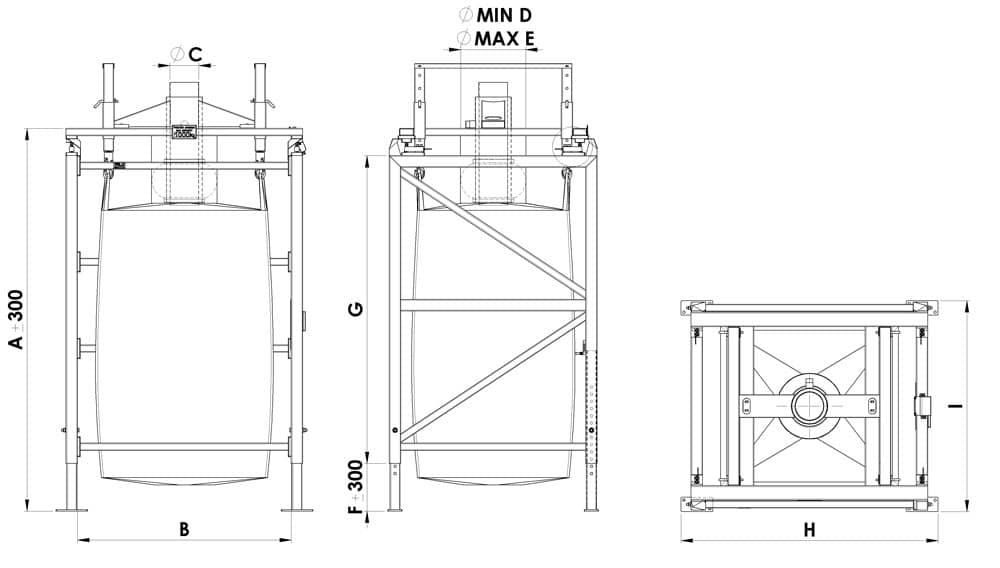 Bulk bag filling station: drawing and dimensions