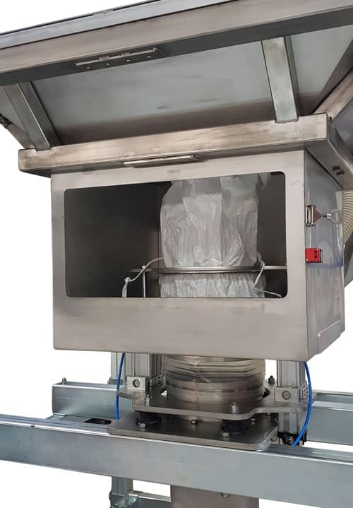 Dust proof bulk bag emptying