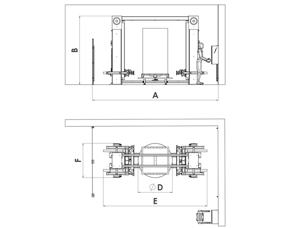 Hydraulic big bag conditioner drawing and dimensions