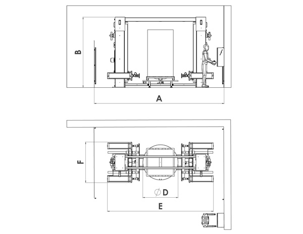 Pneumatic bulk bag conditioner drawing and dimensions