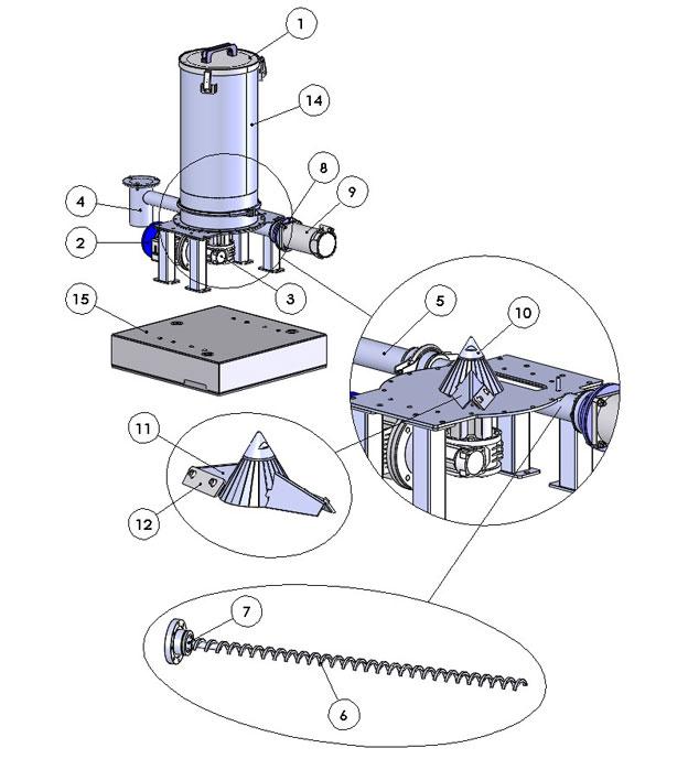 Parts of a powder feeder