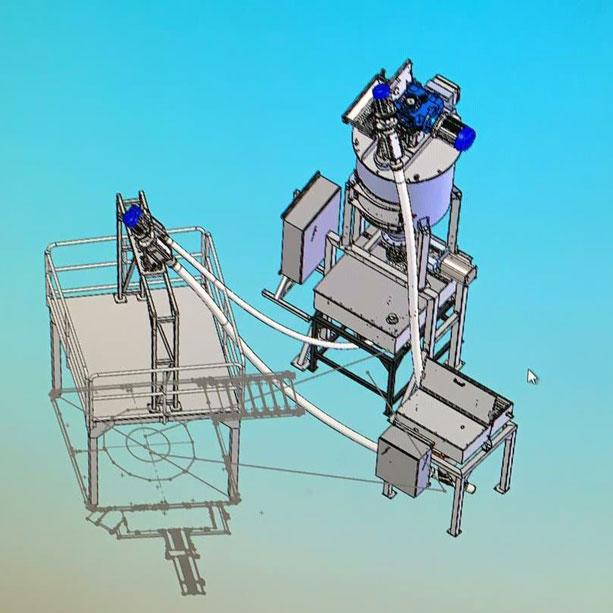 Bulk material handling line drawing: sack tip hopper, flexible screw coveyors and vertical ribbon mixer