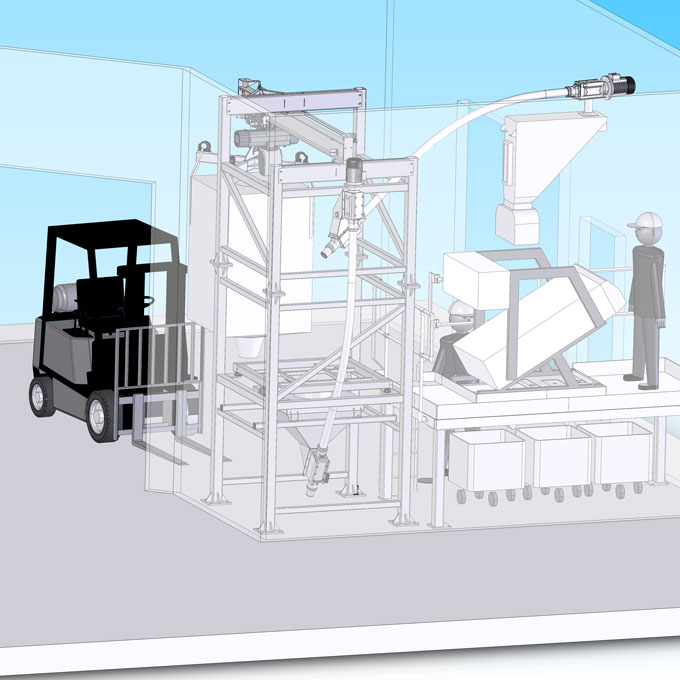 Food industry bulk bag unloading and conveying system drawing