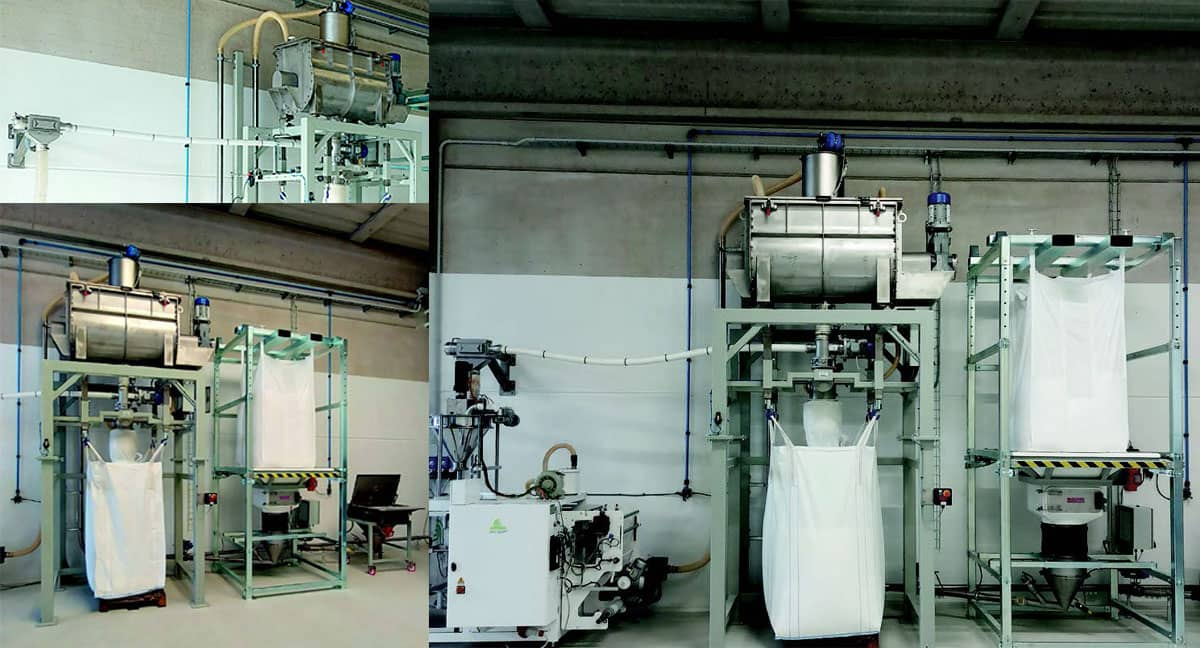 Complete line for unloading, mixing and packing food powders